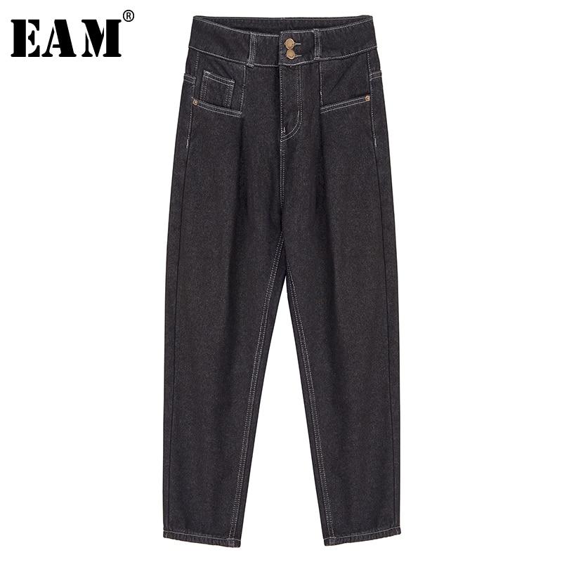[EAM] Wide Leg Black Brief Long Leisure Jeans New High Waist Loose Women Trousers Fashion Tide Spring Autumn 2019 19A-a59