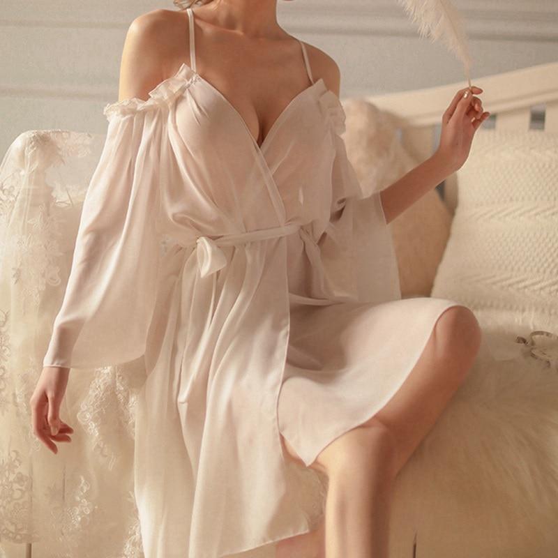 Femme Sleepshirts Fashion Nightgown Spaghetti Strap Ladies Lingerie Womens Deep V Sexy Sleepwear See Through Night Dress