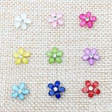 1000pcs Cute Five-Petal Little Flowers Resin 10mm With Glitter Rhinestone Flatback Cabochon DIY Nail Art/Phone Decoration #ZCF03