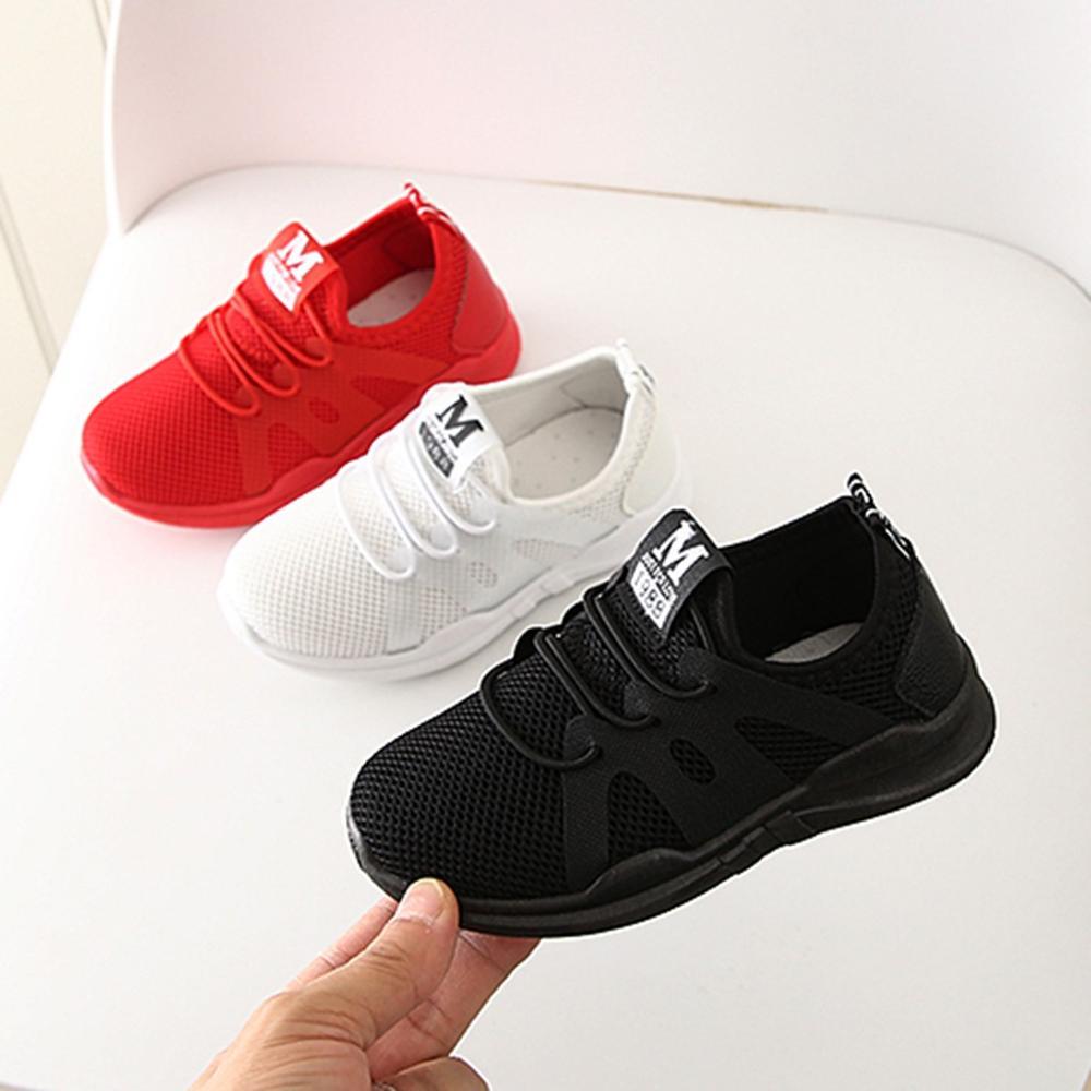 2020 nouvelle vente à la mode enfants infantile enfants bébé filles garçons lettre maille Sport course baskets chaussures décontractées enfants chaussures respirant