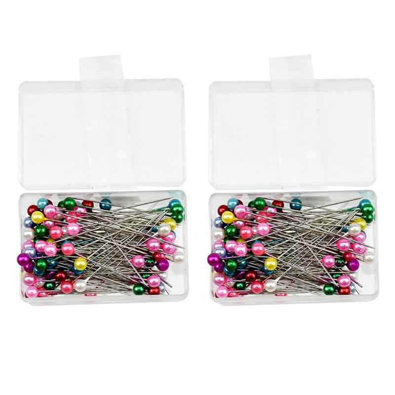 2 pudełko okrągła głowa perły krawiectwo szpilki wesela stanik kwiaciarnie szpilki krawieckie z pudełkiem akcesoria DIY przyrządy do szycia