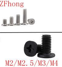 50-200 шт. m2 m2.5 m3 m4 сталь с черным см низким тонким коротким головным винтом, большой плоской головкой, перекрестным тонким краем, плоским винто...
