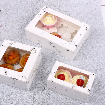 50pcs Marble pattern round hole muffin cake package box egg tart box towel cake roll box window film with holder Free Shipping