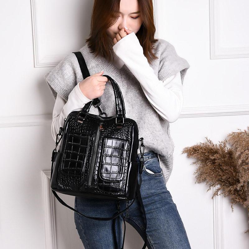 DIINOVIVO Vintage Backpack Women Multifunction School Shoulder Bag Backpacks Girs Crocodile PU Leather Bagpack Female WHDV1308