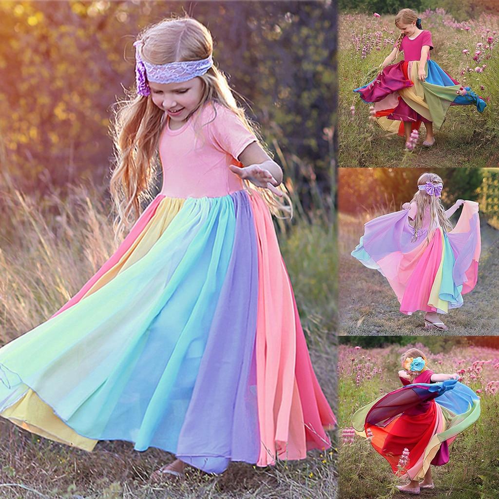 40# Dress Kids Girls Short Sleeve Rainbow Stitching Dress Dress Princess Dress Birthday Party Dresses Kids Clothes Girls 4