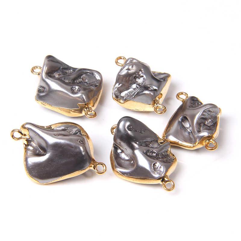 Nước Ngọt Tự Nhiên Dây Ngọc Trai Accessorie Xám Bạc Hình Tự Do Pebble Hạt Ngọc Trai Quyến Rũ Kết Nối Cho Trang Sức Làm DIY 3