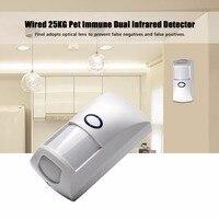 Mini portátil com fio 25 kg pet imune dupla infravermelho pir detector de movimento sensor baixo consumo para casa gsm sistema de alarme segurança