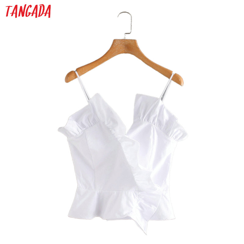 Tangada Women Ruffles Cotton Camis Top Spaghetti Strap Sleeveless Backless Short Shirts Female Casual Solid Tops 2W220