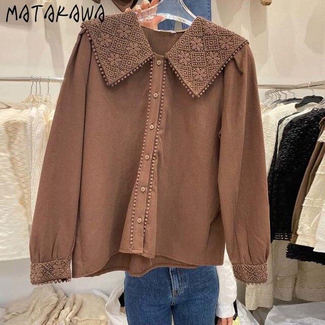 MATAKAWA Sweet Casual Blouse Women Top Korean Lace Hook Flower Blusas Turn-down Collar Long-sleeved Shirt Female 2