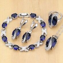 Oval Azul Zircão Sintético Branco CZ 925 Esterlina Conjuntos de Jóias de Prata Para As Mulheres Brincos/Pingente/Colar/Kits anéis/Pulseira