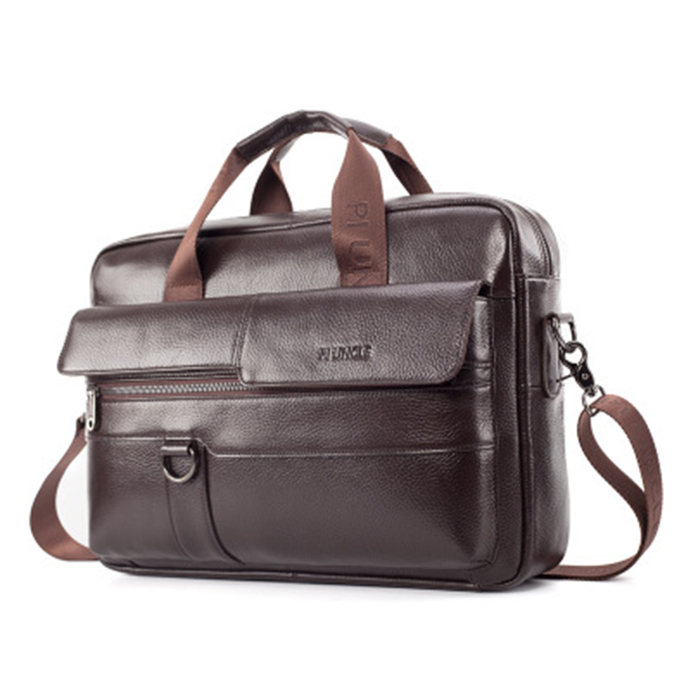 Men Genuine Leather Bag Business Briefcase Fashion Brand Leather Laptop Bags Male Shoulder Computer Bags Leather Briefcases