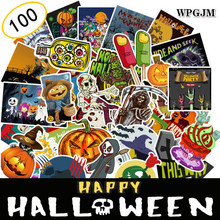 100Pcs Watercolor Halloween Sticker Decorative Scrapbooking Skull Pumpkin Cool Diary  Skateboard DIY Waterproof Stickers