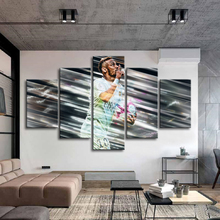 5 Pieces Paris Famous Player Neymar Posters Canvas Paintings Brazil Football Stars Wall Art Sports Print Picture Kids Room Decor
