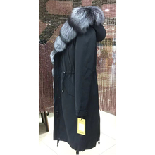 Womens winter long parkas coat jacket fox raccoon fur detachable rabbit liner hooded  18035 D103