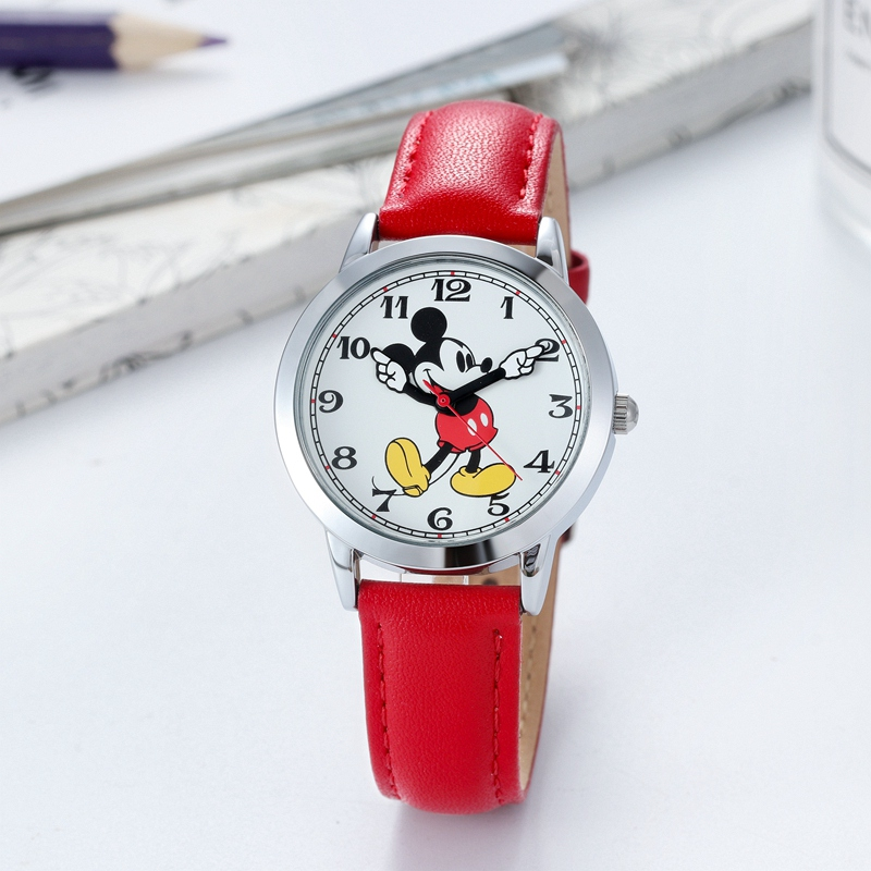 Image 5 - Original Disney Women Quartz Round Watch Authentic Mickey Mouse Cutie Love Fashion Clock Ladies Leather Band Watches Best Gift-in Women's Watches from Watches