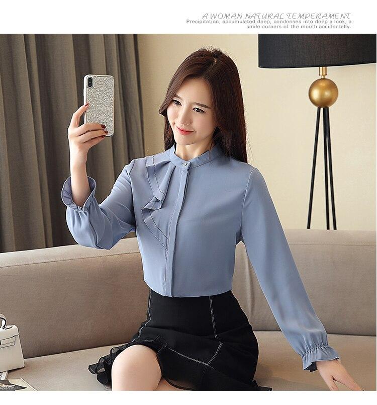 Women Spring Autumn Chiffon Blouses Tops Chiffon Blouses Shirts Ladies ruffless Blouse Femme Long Sleeve Plus Size Blusas 7