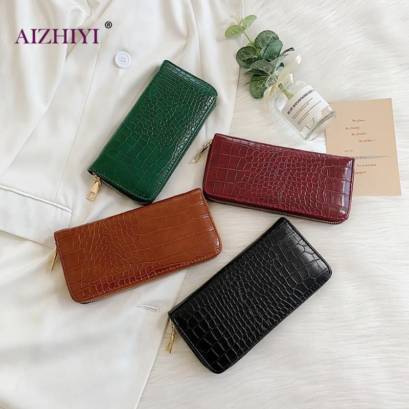 Women Long Zipper Wallet PU Leather Crocodile Ladies Purse Wristlet Wallets Clutch For Phone Cards Coin Purses