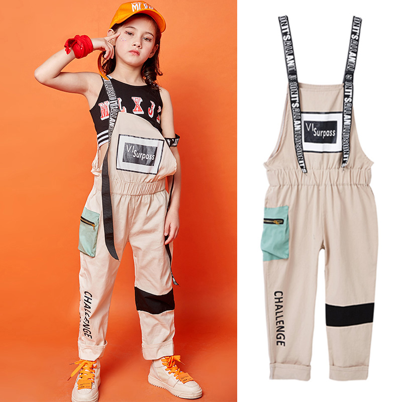 New Kids Children'S Hip Hop Dance Wear Outfits Jazz Modern Dancing Costumes Clothing Girls Bib Pants Suit Stage Costumes SL011