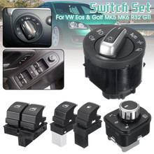 Window Mirror Headlight Door Control Switch 5pcs Fuel Switches Chrome for V W Eos G olf R32 T I
