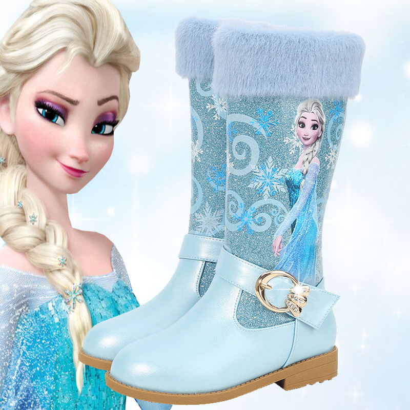 Children Shoes Girls Princes Cartoon Boots Winter Fashion New Trend Boots Warm Plush Lining Quality Leather Boots