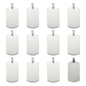 Image 3 - 50pcs Stainless Steel Tag Metal Stamping Blank Tags with Snap on Bail for Charm Pendant Jewelry DIY Making Polished