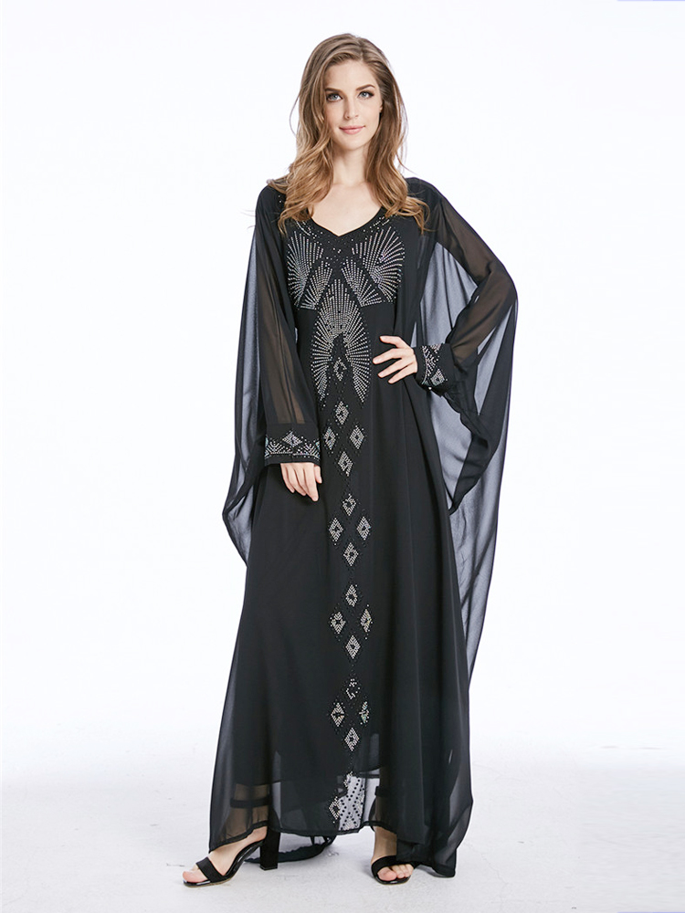 Arab Women Classy Fashion Party Evening Kebaya Muslim Lady Diamond Setting Long Robe Islamic Kaftan