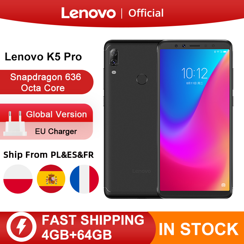 Global Version Lenovo K5 Pro 4GB 64GB Snapdragon636 Octa Core Smartphone Four Cameras 5.99 Inch 4G Phones 4050mAh