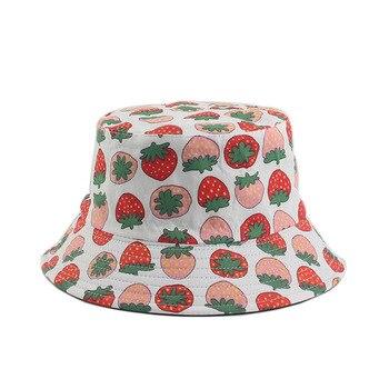 1 Uds nueva moda Reversible fruta diseño de fresa cubo sombreros gorras de pescador para las mujeres verano