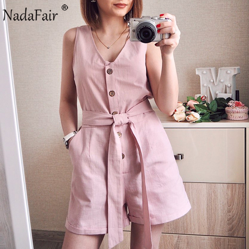Nadafair Casual Playsuit Woman Off Shoulder Belt Tunic Pink Black Solid Summer Elegant Jumpsuit Short 2020 Overalls For Women