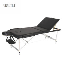 Massage Bed Portable Folding Three-fold Aluminum Alloy Beauty Body Tattoo Massage Therapy Bed 60CM Wideth
