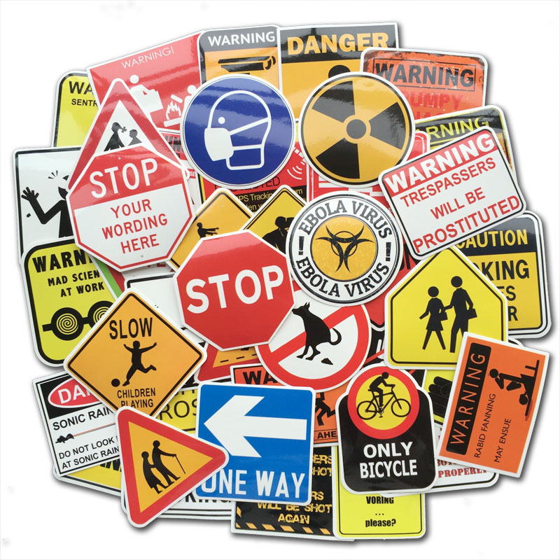 50 PCS Warning Stickers Danger Banning Signs Reminder Waterproof Decals Sticker Pack To DIY Laptop Luggage Motorcycle Snowboard