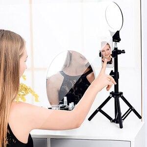 Image 4 - XJ31S anillo de luz LED regulable maquillaje Selfie anillo de luz de relleno giratorio transmisión en directo iluminación fotográfica