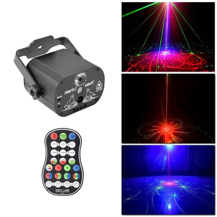Mini USB Charge DJ Disco Light Strobe Party Stage Lighting Effect Voice Control Laser LED Projector Light For Dance Floor