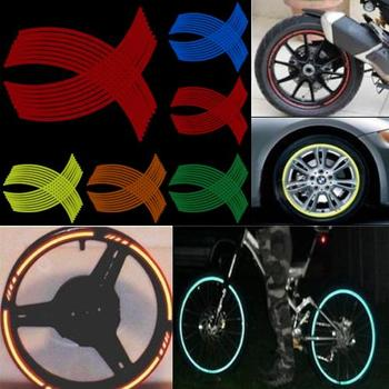 16 Pcs Motorcycle Car Vehicle Reflective Rim Stripe Wheel Decals Tapes Stickers Protect Bicycle Reflective Paste Tool image