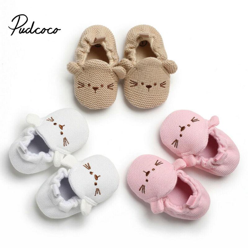 Criança menina de malha primeiros caminhantes botas de neve sapatos recém-nascidos do bebê outono inverno algodão quente macio sola pelúcia prewalker