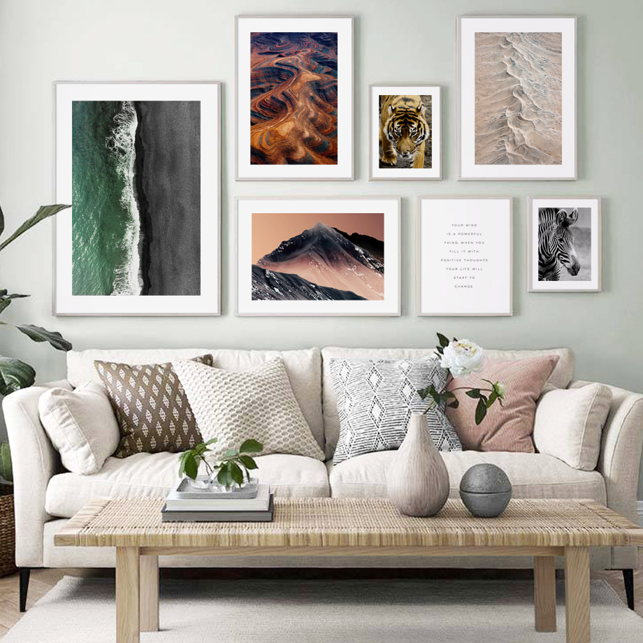 Natural Mountain Desert Sea Beach Tiger Wall Art Canvas Painting Nordic Posters And Prints Pictures For Living Room Decor
