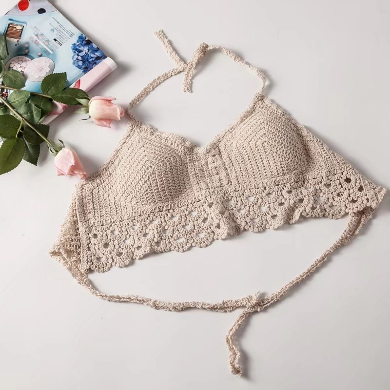 2019 New Sexy Bandage Pasta Lace Bras For Women Solid Color Lady's Seamless V-neck Top Lace-cut Hollow Woven Sweet Camisole