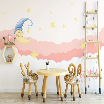 Milofi wallpaper hand-painted pink moonlight starry sky childrens room princess bedroom background wall painting