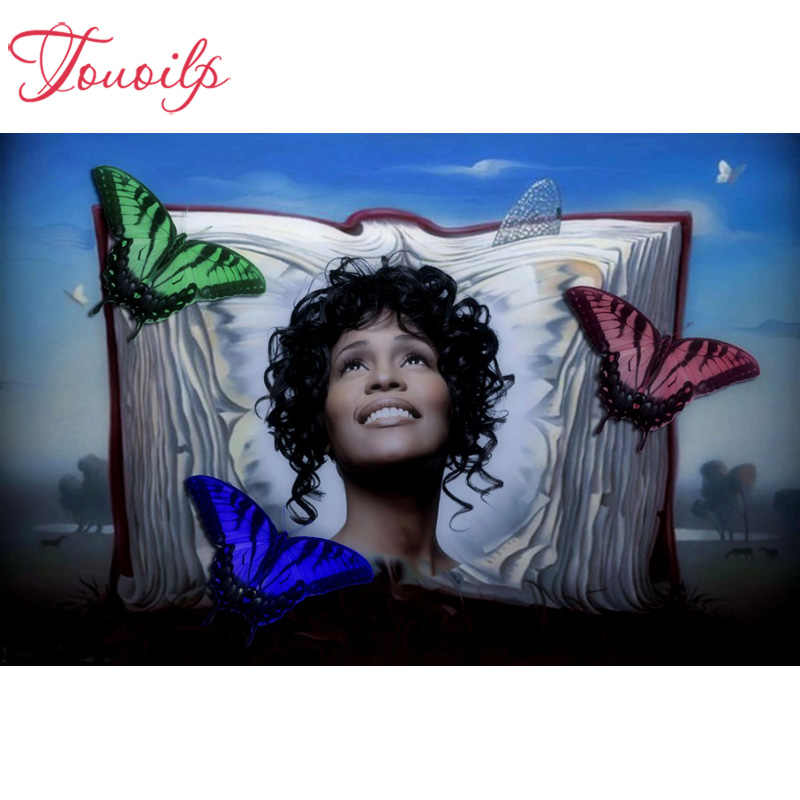 "Touoilp DIY full square&round 5D Diamond painting""Whitney Houston""Embroidery Cross Stitch 3D Pictures of Rhinestone mosaic"