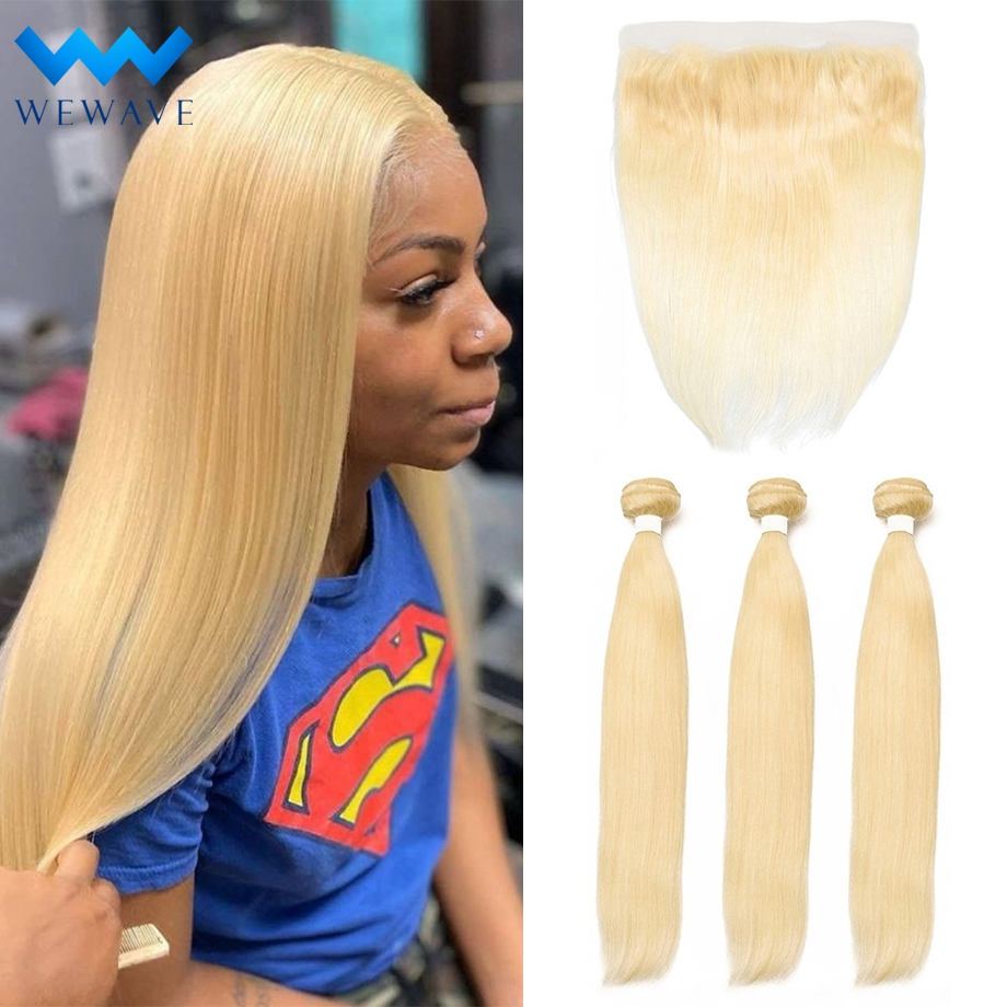 Blonde Human Hair Bundles With Frontal Closure Brazilian Straight 613 virgin Hair Weave Extension Short Long for Black Women image