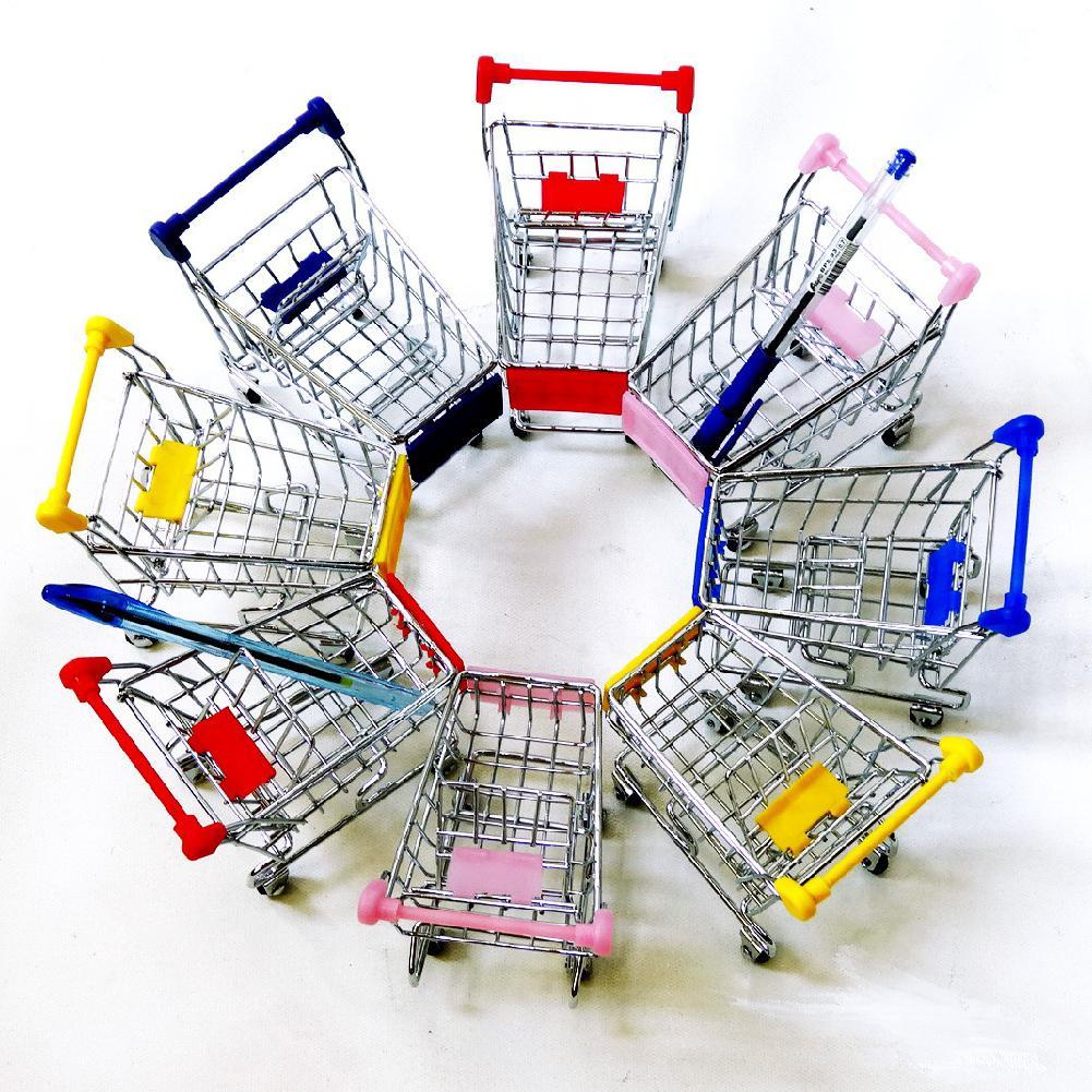 Cute Stainless Steel Mini Supermarket Handcart Shopping Utility Cart Random Color