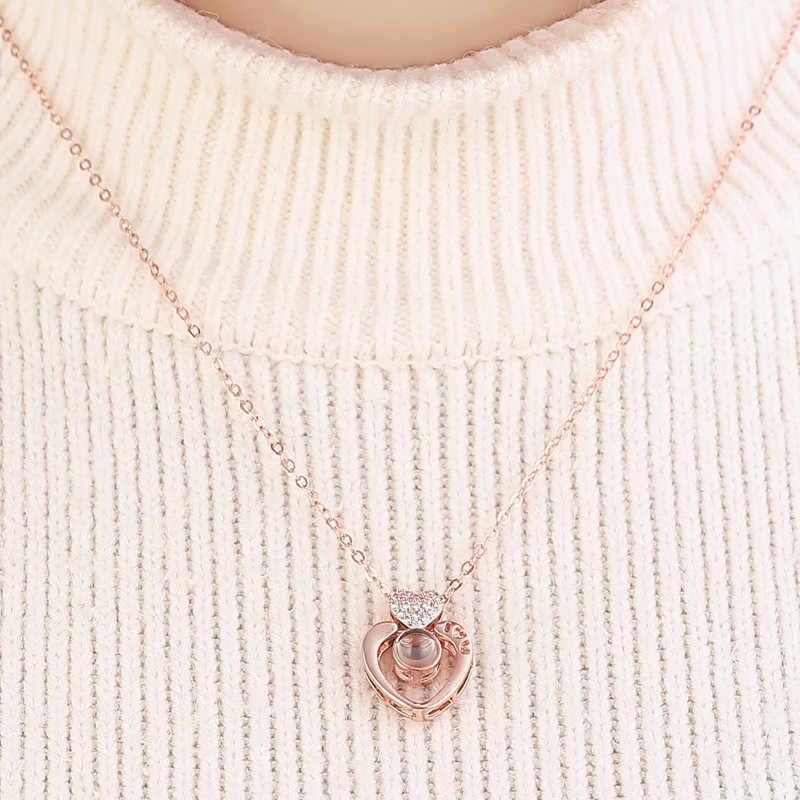 100 sprachen Sagt ICH liebe Sie Projektion Halskette Kreative valentinstag geschenk Weihnachten geschenk für freundin vorschlagen präsentieren A1