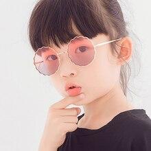 Child Cute Round Metal Flower Frame Sunglasses Children Kids Pink Blue Yellow Le