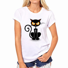 Femme for Girl Noble Black Cat T Shirt Women Tshirt Harajuku Camiseta Mujer T-shirt Kawaii White Causal Tee