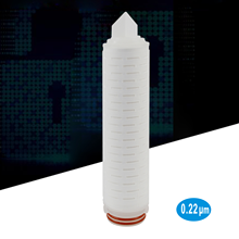 "10 ""Parker Plissee Filter Patrone 0,22 Mikron, 226 ORing Design & Bajonett, Polypropylen micro fiber media"