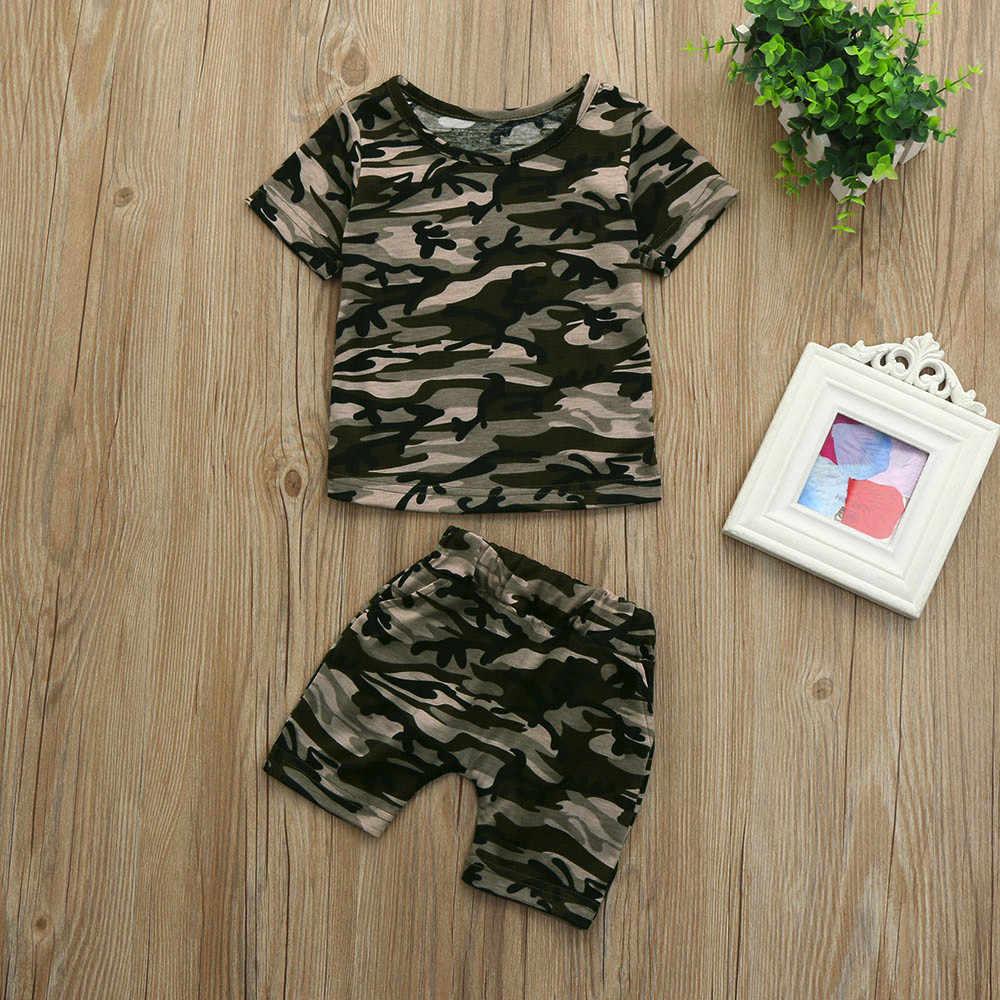 2019 Fashion Hot Jual Anak-anak Balita Bayi Anak Perempuan Anak Laki-laki Kamuflase T Shirt Tops + Celana Pendek Pakaian Pakaian Set Bayi Laki-laki pakaian