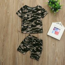 2019 Fashion Hot Selling Toddler Kids Baby Girls Boys Camouflage T shirt Tops+Shorts Outfits Clothes Set baby Boys Clothes(China)