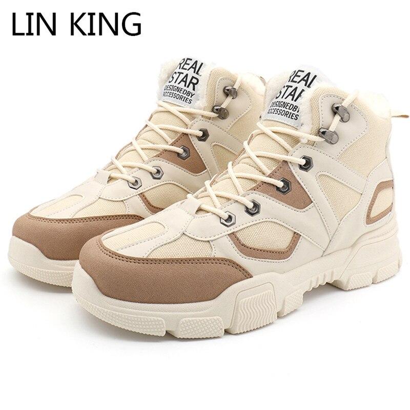 LIN KING Big Size Men's Snow Boots Warm Fur Winter Ankle Boots Thick Sole Lace Up Outdoor Short Botas Comfortable Cotton Shoes