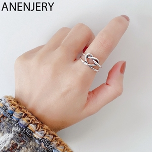 ANENJERY Double Layer Woven Love Heart Female Thai Silver Ring 925 Sterling Silver Handmade Open Ring For Women Jewelry S-R599(China)