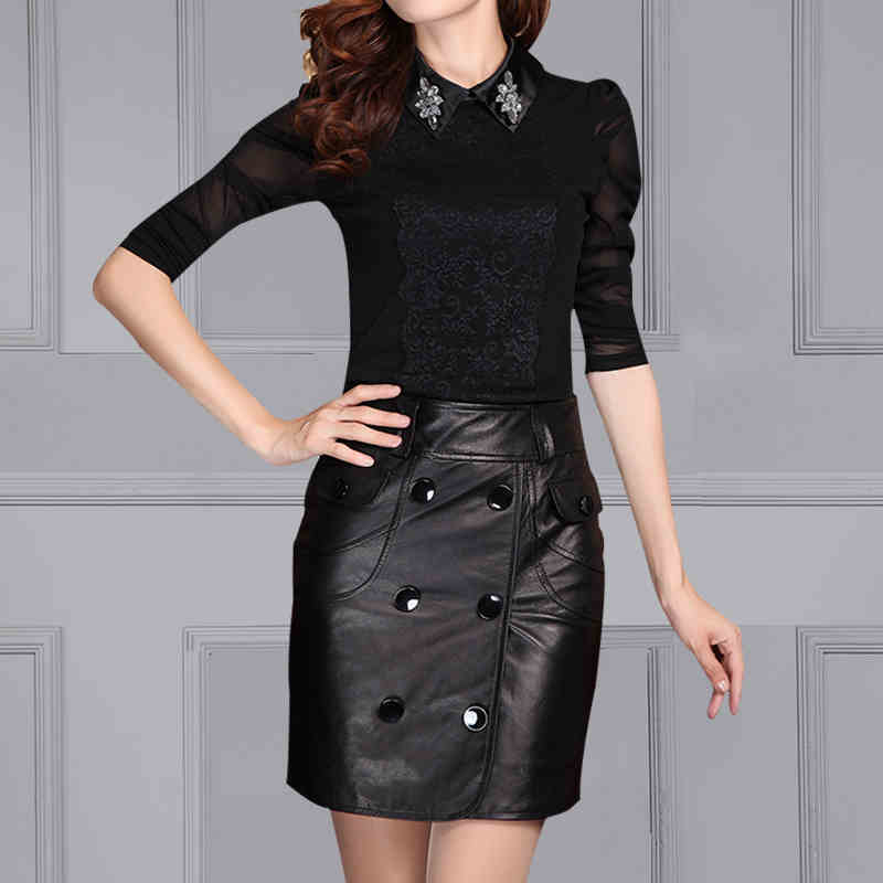 Free Shiping New Skirts Genuine Leather Streetwear Casual Natural Leather Sheepskin High Waist Wrap Buttons Female Mini Skirts